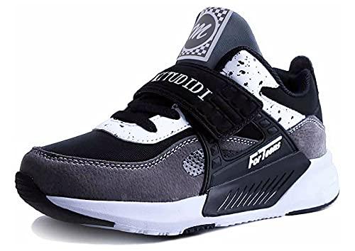 Dziecięce Sneakersy 26 Chłopcy Buty do biegania Dziewczynki Buty Sportowe Outdoorowe Buty do Biegania Buty Trekkingowe Dziecięce Zapięcie na Rzepy Oddychające Buty do Tenisa Buty do Koszykówki Szary