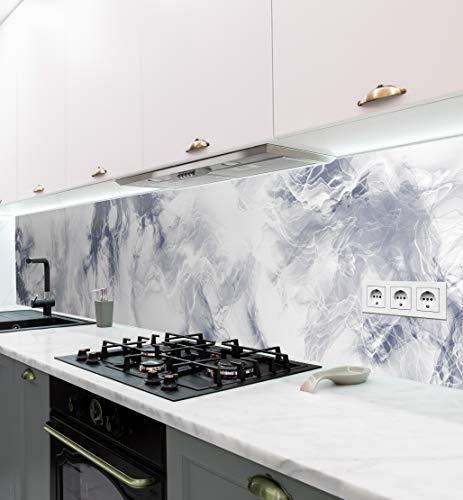 MyMaxxi | selbstklebende Küchenrückwand Folie ohne bohren | Aufkleber Motiv Marmor blau weiß | 60cm hoch | adhesive kitchen wall design | Wandtattoo Wandbild Küche | Wand-Deko | Wandgestaltung