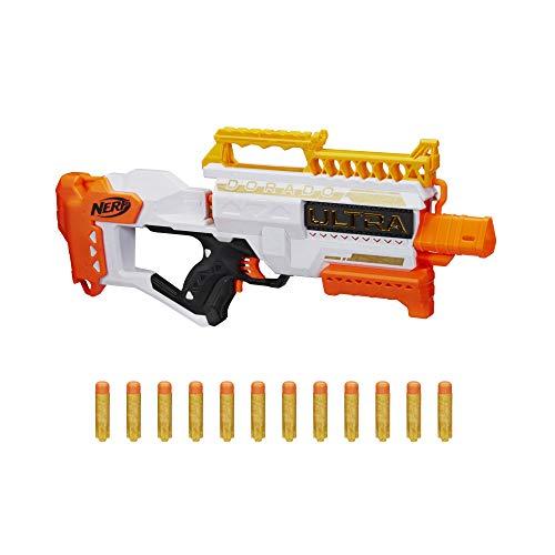 Nerf Dorado Blaster motorizado, Carga rápida de Nalgas, 12, Compatible Solo con...
