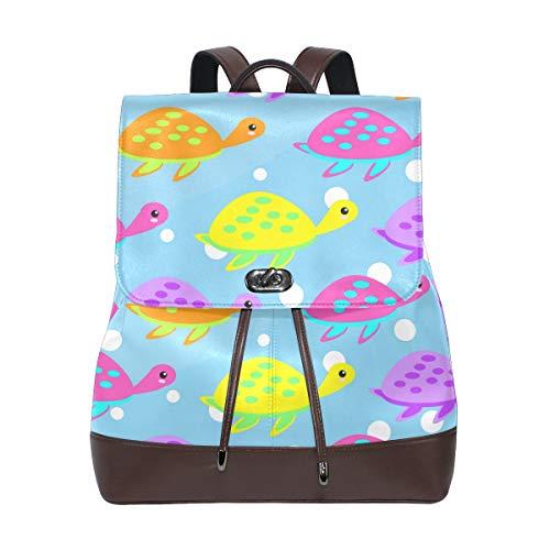Ahomy - Mochila de piel para mujer, diseño de tortugas marinas, impermeable, antirrobo, color azul