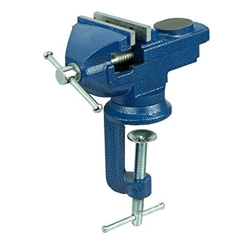 HRB Schraubstock 50 mm klemmbar für Werkbank, Schraubstock klein und drehbar massiv gefertigt mit Hammerschlaglackierung versehen, Feinmechanikerschraubstock