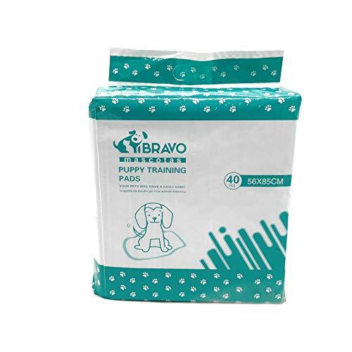 BRAVO Empapadores para Perros. Toallitas de Entrenamiento de Perros Super absorbentes para Mascotas pequeñas, Medianas y Grandes. Pack de 40 Unidades. 30x45cm, 56x56cm y 56x85cm (33x45cm)