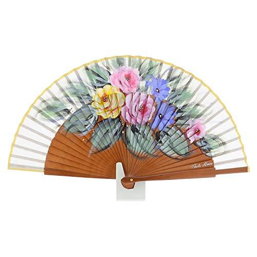 Abanico Madera para Mujer Diseño Flores Artesanal Talla: U Color: Cuero