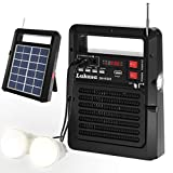 Lukasa Portable FM Radio Solar Powered Build-in Bluetooth Speaker 5200mAh MP3 Player,Rechargeable Battery LED Torch Flashlight SOS Alarm Outdoor Emergency(Black)