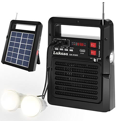 Lukasa Portable FM Radio Solar Powered Build-in Bluetooth...