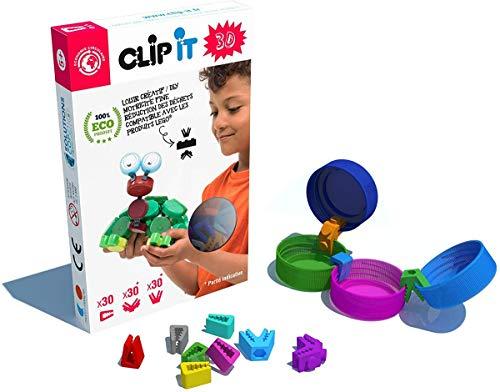 CLIP IT - Boîte Mixte de 90 Clips 2D/3D - Jeu d'Assemblage, un jeu éducatif, créatif et durable , 90% surcyclé !