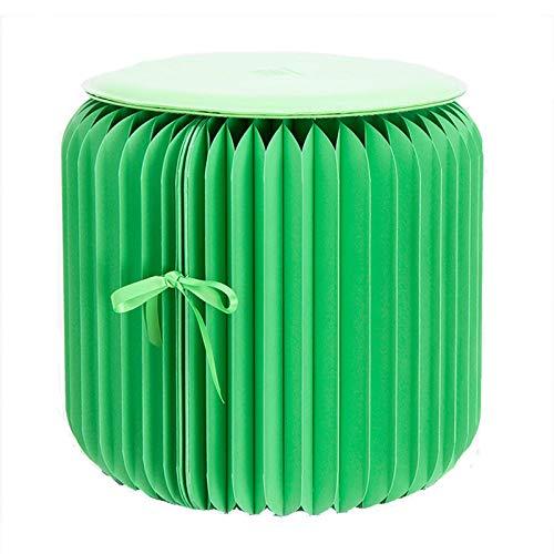 SPORETE Craft Paper Taburete Plegable con cojín de PU, Creativo y Respetuoso con el Medio Ambiente, Plegado como un Libro para Guardar Espacio y Taburete portátil, Color múltiple,Verde,28cm