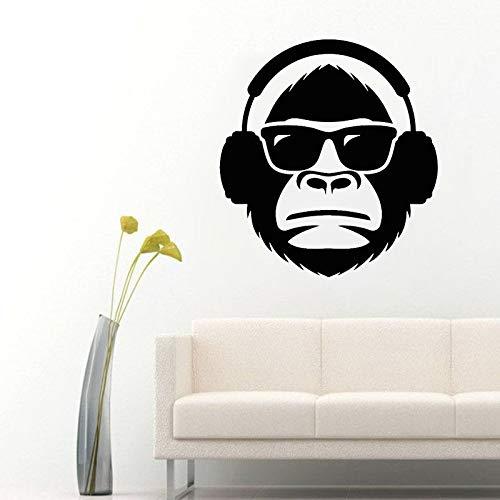 YuanMinglu Sonnenbrille AFFE Kopfhörer Brille Musik Wandaufkleber Junge Schlafzimmer Abnehmbare Vinyl Wandaufkleber Schwarz 42x46cm