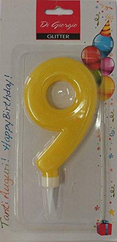 Cereria de Giorgio 58160_ 69vela de cumpleaños gigante con purpurina Número 9