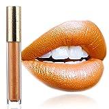 Edanta Matte Lipstick Glitter Gold Liquid Lipsticks High Pigmented Cream Lipgloss Long Lasting Waterproof Lip Glaze Makeup for Women and Girls Pack of 1