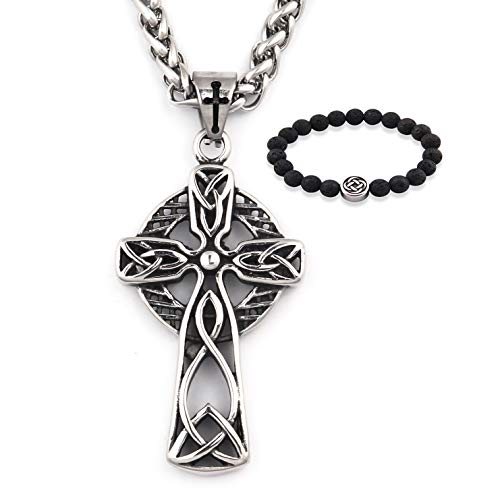 Gungneer Celtic Cross Necklace Knot Pendant Stainless Steel Charm Chain Religious Infinity Jewelry Gift Men Women