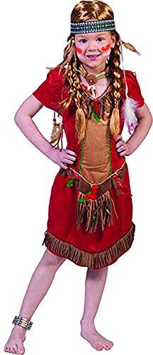 Confettery - Mehrfarbiges Indianer Kostüm für Mädchen, 152-164, 12-14 Jahre, Mehrfarbig
