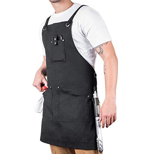 Chef Apron For Men - Professional Grade Cooking Apron for Men M-XL - Kitchen Aprons For Men For BBQ, Cooking, DIY, Texas Canvas Wares(Black)