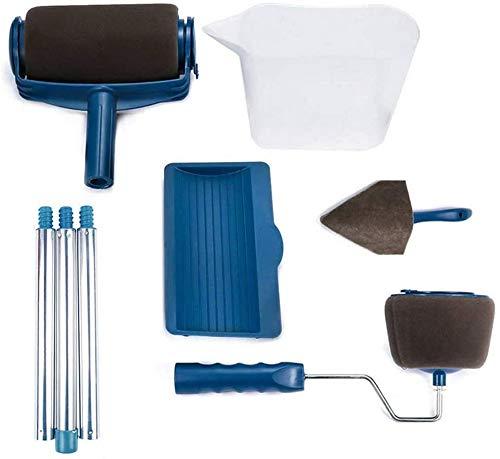 Rouleau de Peinture avec Réservoir Rouleau de Peinture Professionnel et Anti Goutte Idéal pour Peindre Un Plafond (8pcs-blue)