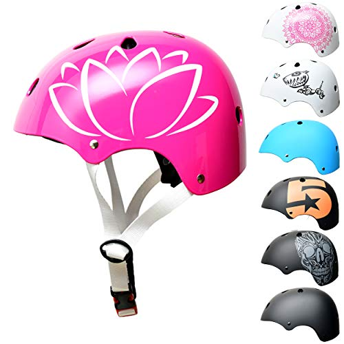Skullcap BMX Helm - Skaterhelm - Fahrradhelm - Herren Damen Jungs & Kinderhelm, Design Blume, Größe S (53 - 55 cm)