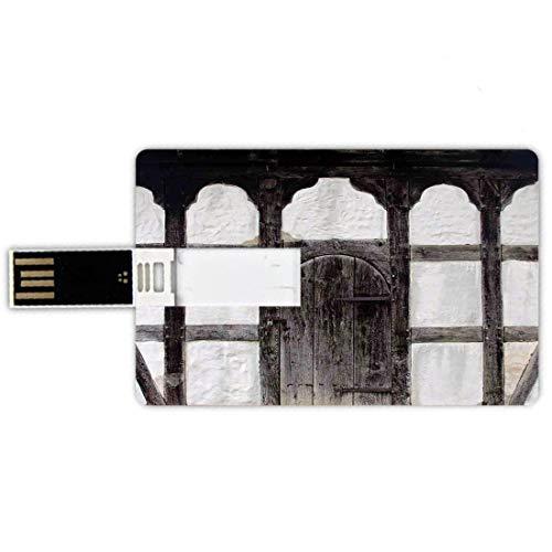32GB Forma de tarjeta de crédito de unidades flash USB Persianas Estilo de tarjeta de banco de Memory Stick Antigua puerta de la casa de campo Fachada Detalle arquitectónico antiguo Estructura de made