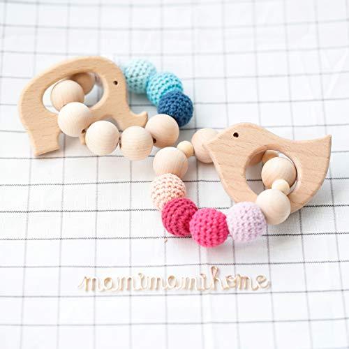 Mamimami Home 2PC Los mordedores de madera de para bebés de pájaro elefante de juguete de regalo Mordedor dentición enfermería juguete masticable pulsera Montessori bebé