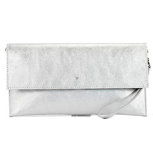 modamoda de - M106-151 - ital. Clutch Handgelenktasche Leder Metallic, Farbe:M151 Silber Metallic