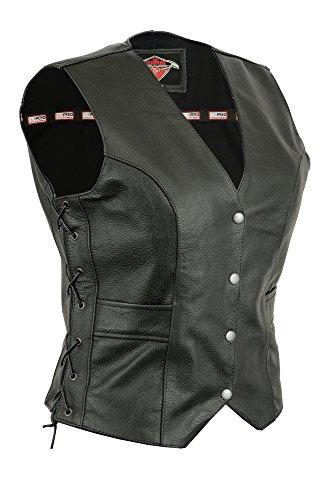 Texpeed - Damen Bikerweste aus Leder - Schnürung an den Seiten & Taschen - EU36-86 cm Brustumfang