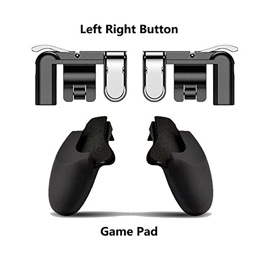Ocamo Mobile Game Fire Button Ziel Taste Gaming L1R1 Shooter Controller für pubg L1R1 Trigger + Gamepad Holder Schwarz