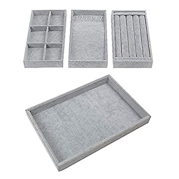 Houseables Jewelry Tray Organizer Stackable Accessories Storage 13.8 x 9.5  Grey 4 Pcs Earring Box Drawer Insert Velvet Ring Holder Bracelet & Necklace Display Cufflink Case Adjustable Dividers
