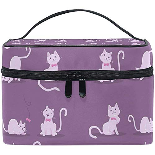 Cute Cat In Different Poses Cosmetic Bag Travel Makeup Train Cases Storage Organizer