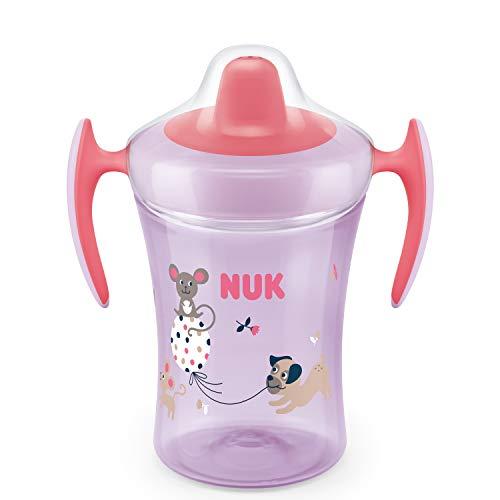 NUK Trainer Cup Trinklernbecher, weiche Trinktülle, auslaufsicher, 6+ Monate, BPA-frei, 230ml, Hund und Maus, violett