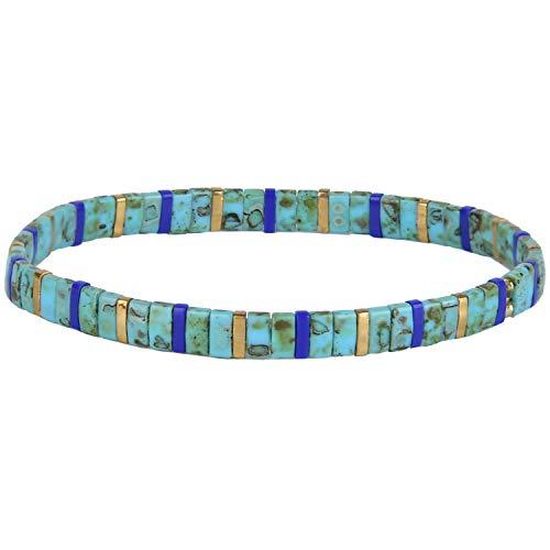C·QUAN CHI TILA Bracelet De Femme Bracelet D'amitié en Perlé De Bracelet De Multi-Brin D'extensible Bracelets De Charme des Filles Bracelet De Jonc Fait à La Main Bijoux