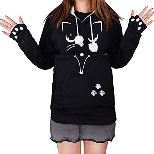 besbomig Unisex Pet Holder Hoodie Sweatshirt - Big Pouch Cat Dog Carriers Pullover Long Sleeve Shirt Kitten Puppy Pocket Hoooded Shirt Tops, Black, L, bust: 41.73 in/106cm