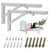 KOOTANS 14 Inch Folding Shelf Brackets, Heavy Duty Wall Mounted Metal Collapsible Shelf Bracket for Bench Table Workbench Supports Space Saving DIY Bracket, Max Load 220LB/100KG, Pack of 2 with Screws