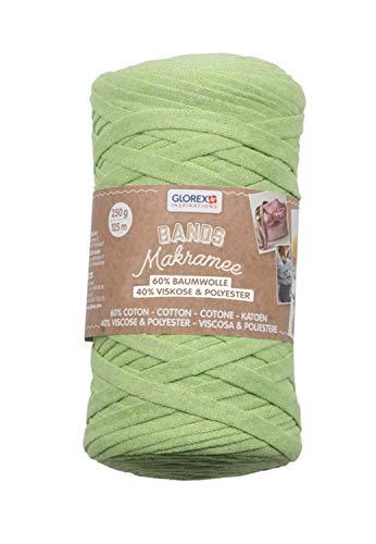 Glorex 5 1005 03 - Bands Makramee, superweiches Textilgarn aus 60 % Baumwolle/40 % Viskose, zum Häkeln, Stricken, Knüpfen und textilen Gestalten, 250 g, ca. 125 m, grün