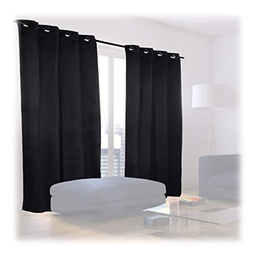 Relaxdays Verdunklungsvorhänge mit Ösen, 2er-Set, einfarbig, waschbar, HBT: 245 x 135 x 0,5 cm, schwarz