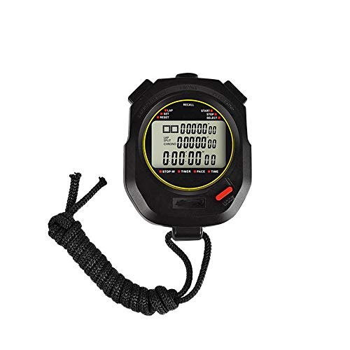 ZoSiP Digital Sport Stoppuhr Timer Digitale Stoppuhr Countdown Referee Elektronische Stoppuhr for Trainings Schwimmen Jogging Fitness Basketball-Spiel (Color : Black, Size : 8.2x6.2x2.0cm)