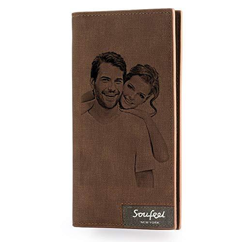 SOUFEEL Cartera Billetera Personalizado de Foto Hombre Plegable Cuero Regalo Personalizado para Familia Novio