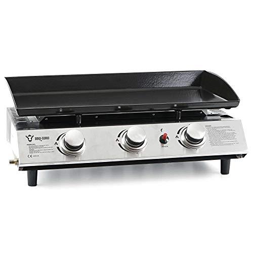 BBQ-Toro Gas Plancha 3 flammig | Gasgrill mit emaillierter Pfanne | Gasgrill Grillplatte