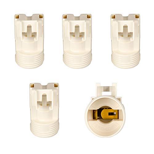 E14 Lampenfassung (PBT), Gewindefassung mit Halterung, Sockel mit 4,2 mm Schraubenloch Weiß (RAL 9003) 5 Stk.
