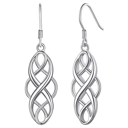 Silvora Old-school Sterling Silver Earrings Women Norse Celtic Knot Drop Earring for Girlfriend Birthday Party