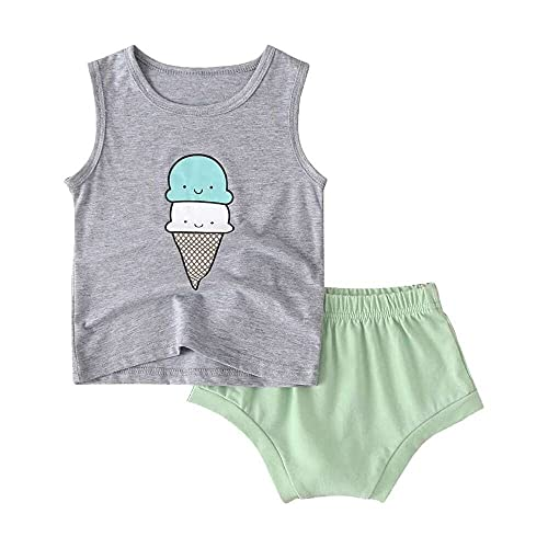 junmo shop Summer Toddler Baby Boys Girls Sleeveless Cartoon Ice-Cream Vest Tops+Shorts Outfits Sets
