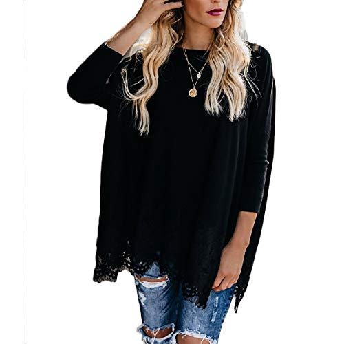 HaiQianXin Vestido Flojo Ocasional de la Camisa del Vintage del o-Cuello del Remiendo del cordón del Vintage Mini Vestido Largo de la Camisa Tops (Color : Black, Size : S)
