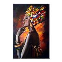 """カラフルなヘッドスカーフの絵の壁アートポスターとプリントのキャンバス絵画黒人女性リビングルームオフィスの家の装飾15.7"""" x23.6""""(40x60cm)フレームレス"""