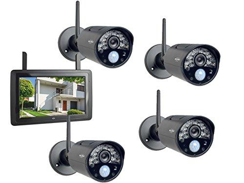 ELRO IP Überwachungskameraset Outdoor mit Innenmonitor, Bewegungsmelder/Nachtsicht, App-Steuerung