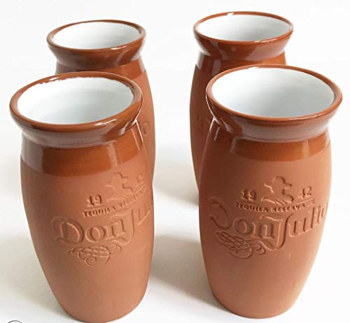 Don Julio 1942 Tequila Cantaritos Jarrito Mexican Terracotta Clay 12 Ounce Drinking Cups - Set of 4