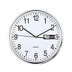 Collections Etc Retro Wall Clock with Calendar Date Display
