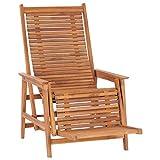 vidaXL Teak Massiv Garten Loungestuhl mit Fußablage Liegestuhl Gartenliege Relaxliege Holzliege Gartenmöbel Liege Deckchair Gartenstuhl Terrasse