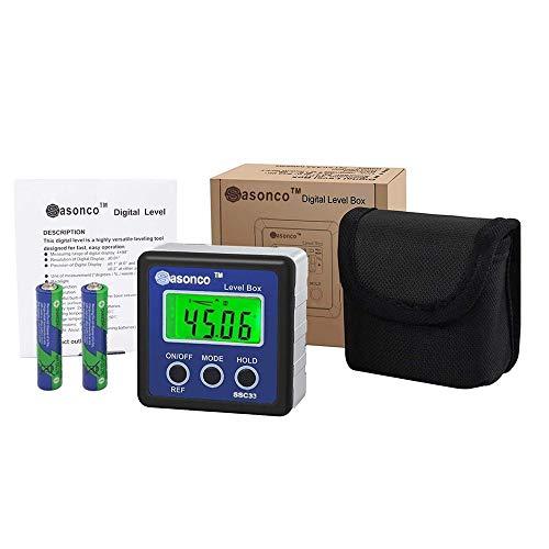 Sasonco Digitaler LCD Winkelmesser Neigungsmesser Digitale Wasserwaage Winkelmesser Neigungsmesser Messgerät digitale Wasserwaage magnetisch mit bel. Display inkl. Gürteltasche (Blau)