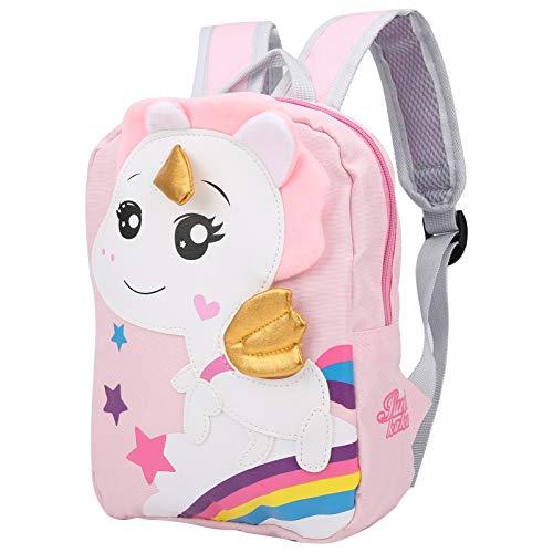 Mochila escolar ajustable, bonita mochila para niños pequeños con diseño de animales, mochila escolar de dibujos animados, duradera para niños, viaje a casa(Pink)