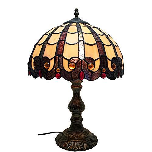 Tiffany Stijl Tafellamp 12 Inch Retro Gebrandschilderd Glas Schaduw Kristal Kraal Bureaulamp, Antieke Ijzeren Voet, Voor Salontafel Woonkamer Slaapkamer