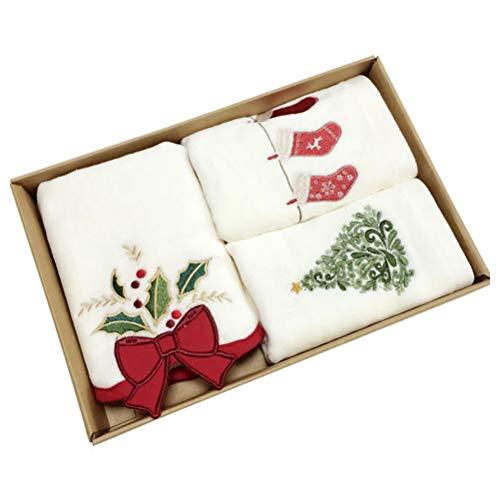 Tianbi Toallas de Mano de Navidad Toallita de Algodón 100% Puro Toallas de Algodón Puro Toallas de Lavabo Juego de Toallas de Baño Decorativas Toallas de Cocina de Navidad Regalo