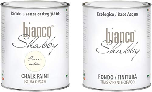 CHALK PAINT Bianco Antico & FINITURA - Pittura Shabby Chic EXTRA OPACA (1 Litro) + Finitura Trasparente Opaco (1 Litro)