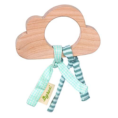 Sigikid Mädchen und Jungen, Holz-Greifling Wolke - Green Collection, Babyspielzeug, empfohlen ab 3 Monaten, natur/blau, 39089